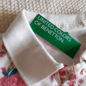 Benetton Women's Polo Tshirt - XS - White/Pink